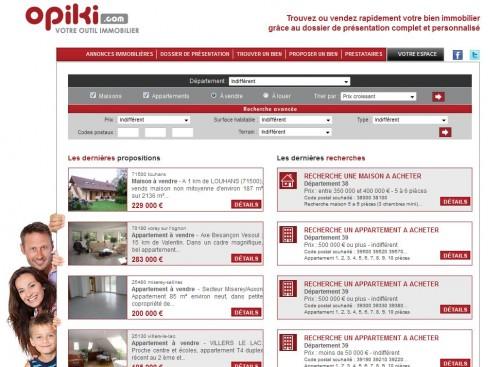 Site Opiki.com, annonces immobilières