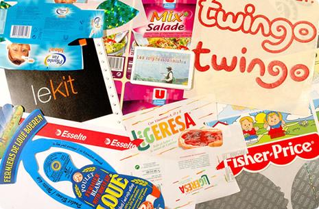 Exemples de logos et d'étiquettes réalisés grâce aux plaques de découpe Kisscut